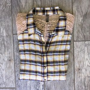 Free People Lace & Crochet Wrinkled Plaid Shirt